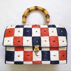 Vintage Checkerboard Pattern Straw Bag